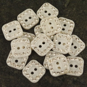 20 x Square White & Silver Glitter Sparkle Buttons Crafts Dance Costume B113