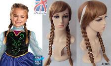 UK Kids Princess Anna Snow Queen Frozen Brown Weaving Braid Cosplay Wig JF008