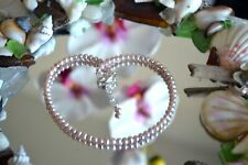 Creamy Seed Pearl & Italian .925 Sterling Silver Ankle Bracelet 9 to 11 inches