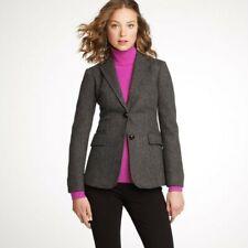 J.CREW Women's HACKING Blazer Jacket Gray Herringbone Twill Wool Size 2