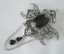 pagan wicca witch witchcraft gothic goddess Black Onyx Triple Moon Brooch wiccan