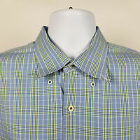 Peter Millar Mens Green Blue Plaid Check Dress Button Shirt Size XL