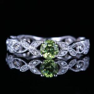 ROUND 4MM VINTAGE NATURAL PERIDOT DIAMONDS GEMSTONE RING SOLID 10K WHITE GOLD