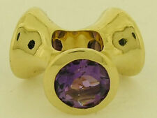 s Bd077 Genuine 9K Solid Yellow Gold NATURAL Amethyst 3 Lights Bead Large Charm