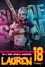 HARLEY QUINN, A5 Personalised Birthday Card Any Name / Age/ Relation  COOL !!! 2