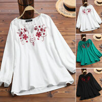 ZANZEA Women Long Sleeve Embroidered Shirts V Neck Casual Loose Blouse Tops Plus