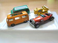 Lot 4 vtg Matchbox Hot Wheels Lesney Bedford die cast CAT tractor VW ZOOM van
