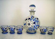 Karaffe sehr alt 5 Gläser Craquelé mundgeblasen handbemalt Krakelee