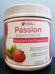 Yoli Passion Energy Drink Powder Strawberry Kiwi 90 Servings Jar NEW! Exp 9/2021