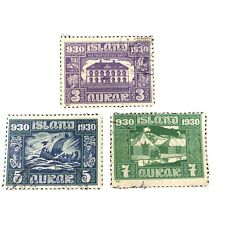 ICELAND, SCOTT # 152-154(3). 3a+5a+7a. VALUES 1930 LOCAL SCENES ISSUE USED