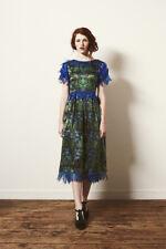 Samantha Pleet 0 Blue Green Daisy Flower Tatter Fringe Trim Silk Boho Dress