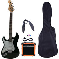 Left Handed GREEN Full Size Electric Guitar Package Amp Case Strap Picks Tuner