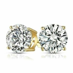 10K Yellow Gold 7MM Round Simulated Diamond Solitaire Push Back Stud Earrings