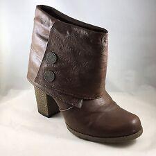 "Muk Luks Brown Textured ""Chris Button"" Foldover Boots Size 7M"