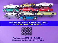 Tyre's for Matchbox Regular Wheels with Silver Hubs Wheels SEE LISTING #RWT35