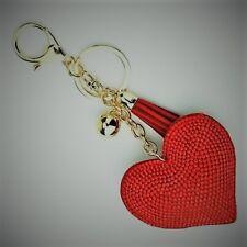 Crystal Red Rhinestone Heart Shape Key Ring Key Chain Purse Fob NEW