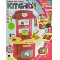 New Pink Electronic Childrens Kids Kitchen and Washer pretend Role Play Toy Set