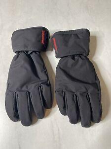 PRADA Black Nylon & Lambskin Leather Palm Ski Snow Gloves Size 9 Mens Large EUC