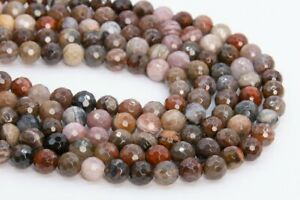 Natural Brown Petrified Wood Jasper Grade AAA Micro Faceted Round Beads 6/8/10MM