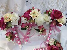 USA 2 pc Fuchsia Pink White Ivory Roses silk flower bridal bouquet boutonniere
