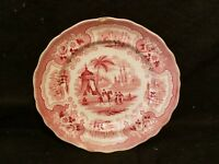ANTIQUE ADAMS PALESTINE PINK/RED STAFFORDSHIRE TRANSFERWARE PLATE