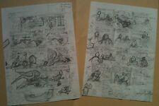 Hergé kuifje Portfolio Tintin et l'Alph'art 2 planches FAC SIMILE Rombaldi