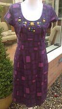 Boden Purple Square Print Shift Dress With Jewel Trim - Size 12 - Wedding Work