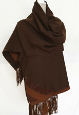 Shawl Wrap - Brown fabric with Leather/Suede Trim