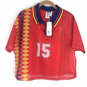 Adidas Originals Womens Small Spain Soccer Jersey Chiffon Layer Tee CY0681 $90