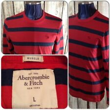 Abercrombie & Fitch LS Graphic T-Shirt Men Lg Muscle Red Charcoal Striped A1-106