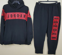 NIKE AIR JORDAN RETRO FLEECE SWEATSUIT HOODIE + PANTS BLACK RED RARE (SIZE 3XL)