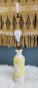 Vintage Table Lamp Retro Neon Yellow and Cream Double Light Pheonix??