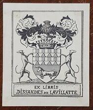 Ex Libris Dissandes de Lavillatte Bookplate