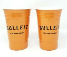 """Bulleit Bourbon Whiskey Plastic Cups Set of 2 Promotional 5.5"""" Man Cave Bar Ware"""