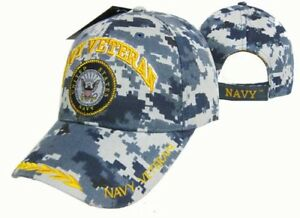 U.S. Navy Veteran Blue ACU Digital Camo Seal Crest Emblem Cap Hat (Licensed)