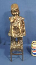 Vtg Signed P Le Faguays Bronze Statue Girl Standing on Chair Shoe in Hand 17.75""