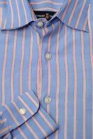 Robert Talbott Men's Blue & Red Stripe End on End Cotton Dress Shirt 16 x 34