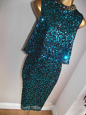 WOW MONSOON TEAL ALEA SEQUIN SPARKLE TIERED FLAPPER 20's DRESS COCKTAIL PARTY 22