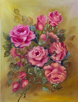 Vintage oil on canvas floral painting signed Nell Acedo unframed