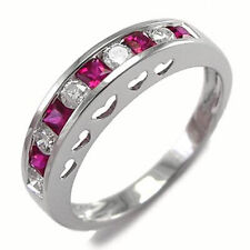 Ruby Heart Ring #R1782 Platinum 950 Genuine Diamond and