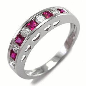 Platinum 950 Genuine Diamond and Ruby Heart Ring #R1782