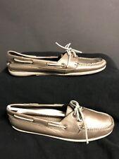 L.L. Bean Women's Shoes size 7M (Leather) Deck Shoes/Moccasins Gold suede laces