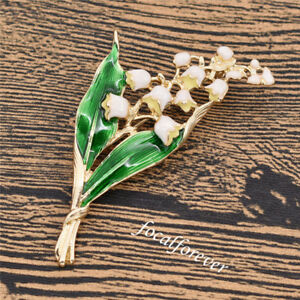 Lily of the valley Enamel Vintage Brooch Womens Costume Pin Flower Leaf Party