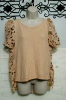 Anthropologie Everleigh Knit Top Size M Mauve Short Sleeved Round Neck