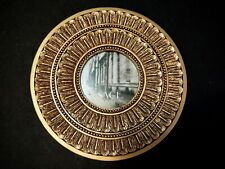 """Round Resin Photo Frame by Sage Gold Feathers Design 7"""" Frame for 3"""" photo"""