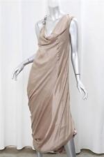 BRUNELLO CUCINELLI Taupe Silk Beaded Shoulder Gathered Drape Gown Dress sz. M