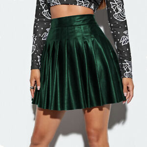 Women High Waist PU Leather Pleated Skirt A-line Flared Mini Skater Skirt Club