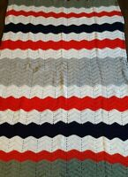 """Vintage Handmade Afghan Striped Multicolor Throw Blanket 48""""X89"""" Red Blue White"""