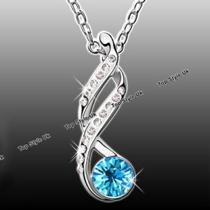 Infinity Blue Topaz Necklace For Wife Daughter Mother Women Birthday Gifts J246A