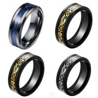 Men's 8mm Band Celtic Dragon Tungsten Carbide Ring Fashion Jewelry Size 7 8 9 10